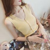 無袖針織上衣-針織吊帶背心雙肩帶女外穿 夏季新款修身紐扣V領無袖打底上衣 花間公主