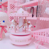 粉色少女心旋轉木馬音樂盒蛋糕裝飾桌面擺件八音盒生日禮物