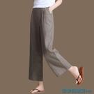 棉麻闊腿褲 棉麻褲女2021夏季新款寬鬆直筒大碼松緊腰白色休閒褲九分闊腿褲 快速出貨
