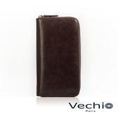 【VECHIO】經典商務男仕系列-8卡拉鍊長夾(枯葉棕)VE042W05BR