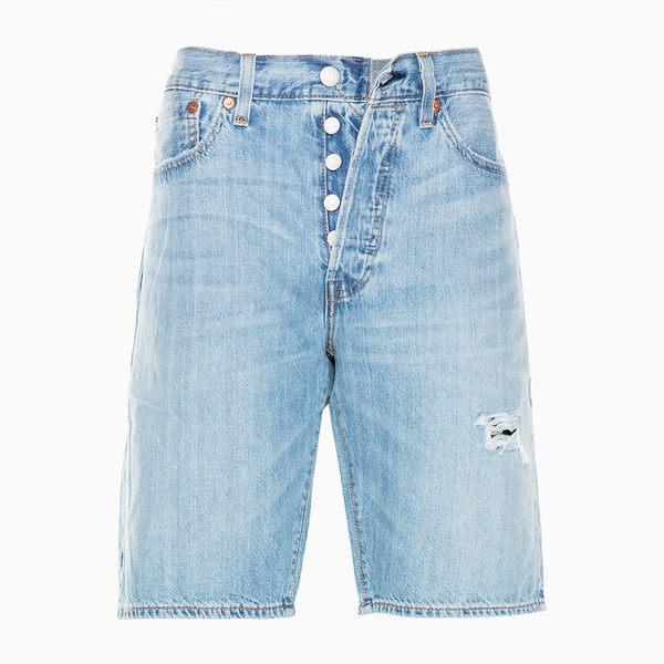 [買1送1]Levis 男款 501經典排釦牛仔短褲 / 破壞 / 輕磅 / 無彈性