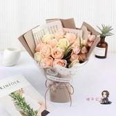 皂花花束 玫瑰花干花禮盒生日禮物女香皂花肥皂花束實用女朋友康乃馨T 4色