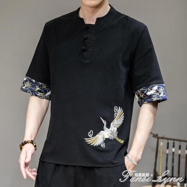 男士五分袖t恤漢服男中國風男裝刺繡亞麻半袖POLO衫夏季寬鬆短袖 范思蓮恩