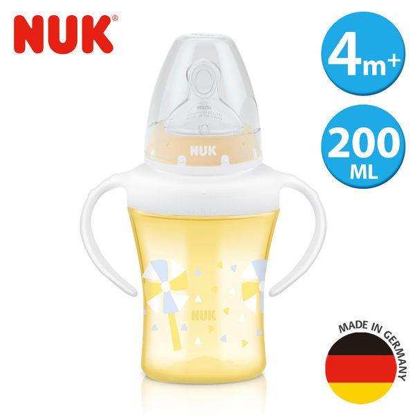 德國NUK-雙柄透明學習奶瓶200ml-附1號中圓洞矽膠奶嘴0m+
