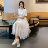 清倉$388 韓國風森系氣質拼接網紗短袖洋裝