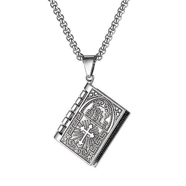 鈦鋼項鍊復古時尚設計聖經讀本十字架鈦鋼流行項鍊