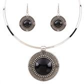 項鍊鍍白金+耳環-圓形松石民族風復古項圈女毛衣鍊4色73nt50【時尚巴黎】