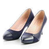 DeSire 拼接時尚跟鞋-藍