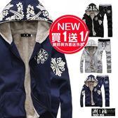 『潮段班』【HJ00W201】外套買一送一 韓版 M-3L加厚加絨刷毛 民族風圖騰印刷連帽運動外套 送褲子