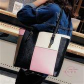 聖誕交換禮物 爆款大包包 店長熱推 新品時尚正韓大容量簡約單肩包女包撞色手提包