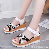 高跟涼鞋女坡跟夏季學生時尚一字扣厚底坡鞋中跟網紅ins潮仙女風 美眉新品