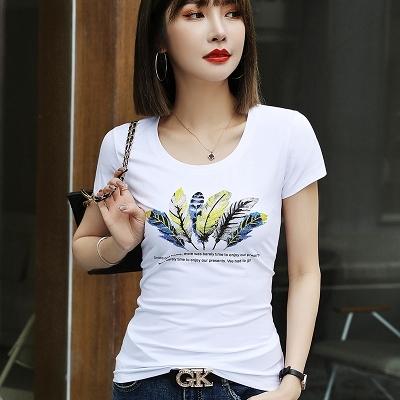 韓版T恤 修身顯瘦上衣歐洲站女裝夏季白色燙鉆t恤女短袖歐貨修身上衣潮FFA040B依佳衣