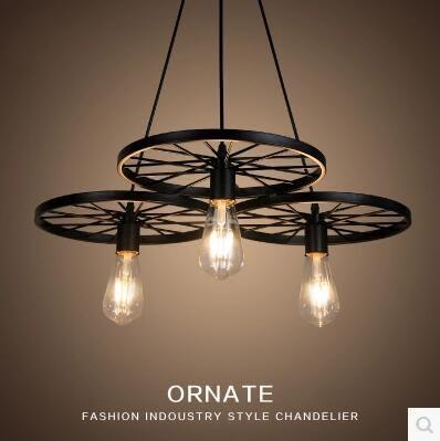 創意個性北歐復古鐵藝車輪吊燈loft客廳咖啡餐廳酒吧臺工業工作室  三頭