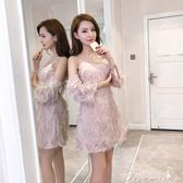 洋裝 新款氣質名媛吊帶性感露肩修身顯瘦羽毛洋裝女  提拉米蘇