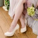 現貨 MIT小中大尺碼圓頭高跟鞋 甜心女神 前高後高亮片真皮鞋墊舒適高跟鞋 21-27 EPRIS艾佩絲-高貴金