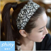 【DJW1307 】shiny 藍格子玫瑰刺繡寬邊髮箍