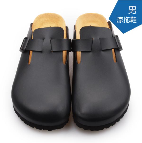 【A.MOUR 經典手工鞋】男涼拖鞋系列-黑 / 涼拖鞋 / 平底鞋 / 防潑水PVC /DH-5012