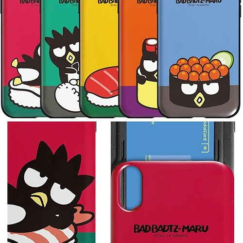 Bad Badtz-maru 酷企鵝 壽司篇 防摔推蓋卡夾 手機殼│iPhone 6 6S 7 8 Plus X XS MAX XR 11 Pro│z8663