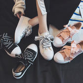 (GG-2418)百搭帆布鞋絲帶小白鞋學生ins板鞋帆布鞋
