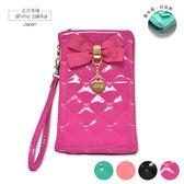 手機袋-蝴蝶結亮皮菱格手機手拿包-粉色-玄衣美舖