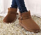 冬季雪地靴磨砂潮女鞋平底短筒短靴加絨加厚保暖棉鞋加絨學生女靴夢依港