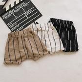 兒童短褲  新款兒童薄款棉麻短褲男寶寶條紋五分褲嬰幼兒外出  莎瓦迪卡