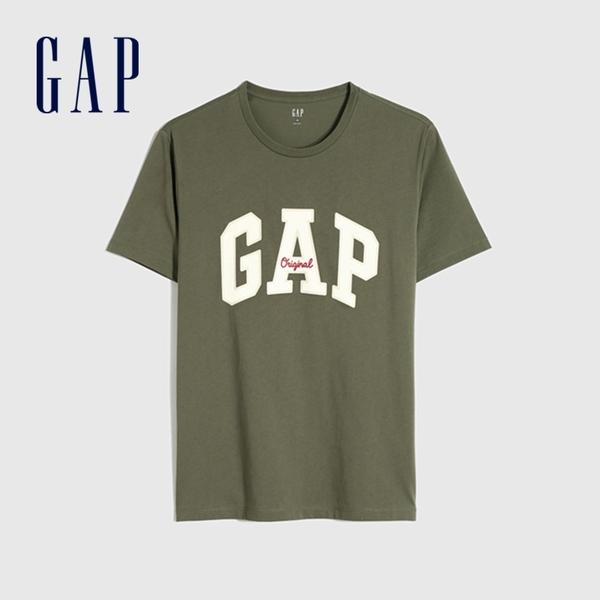 Gap男裝 Logo純棉寬鬆圓領短袖T恤 848801-綠色