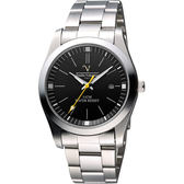 【Valentino】義式風情經典腕錶-黑/銀/39mm SM6405S黑