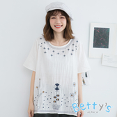 betty's貝蒂思 花朵短袖繡花上衣(白色)