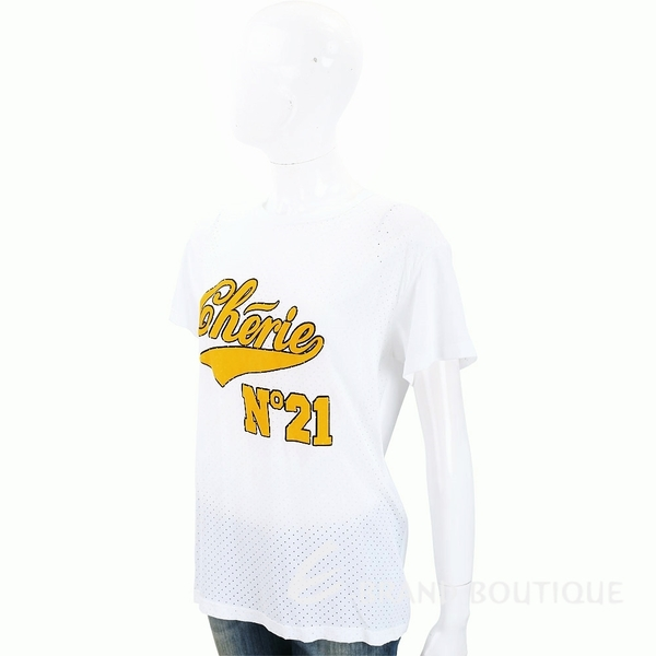 N° 21 字母LOGO白色洞洞棉質T恤 1830486-20