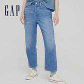 Gap女裝 棉麻混紡中腰男友風長褲 803365-藍色