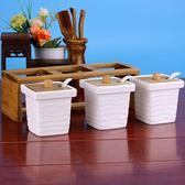陶瓷調味料罐歐式創意廚房用品調味瓶鹽罐味精瓶方型調盒日式 優帛良衣