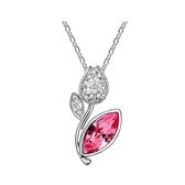 水晶項鍊+925純銀吊墜-花的約定生日情人節禮物女飾品4色73bb351【時尚巴黎】
