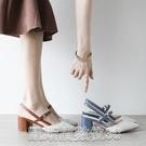 高跟涼鞋2021夏季新款 包頭涼鞋女一字帶尖頭粗跟涼鞋貨號2-3027 【快速出貨】
