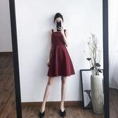 洋裝吊帶裙 外穿酒紅色連身裙中裙A字裙氣質高腰 巴黎春天