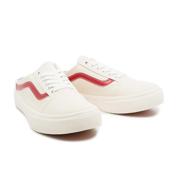 Vans OLD SKOOL 踩腳 懶人鞋 米白 帆布 紅線 基本款 男女 情侶 590747-0002