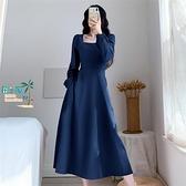 洋裝連身裙赫本風方領藍色長袖連衣裙女法式收腰長版泡泡袖長裙【風之海】