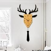 掛鐘 現代簡約客廳創意個性北歐時尚鹿頭掛鐘鐘錶大氣靜音潮流裝飾掛錶T