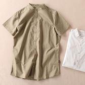 襯衫短袖 中國風男裝短袖襯衫衣服中式復古立領唐裝中山裝全棉襯衣 歐美韓