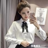 秋冬新款襯衫女長袖蝴蝶結學院風學生設計感小眾洋氣加絨上衣 米希美衣