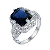 【R.J NewYork】湛藍公爵歐美白銀雕花縷空天藍水鑽戒指(白金色男女皆可用)