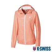 K-SWISS Fleece Jacket刷毛防風外套-女-橘