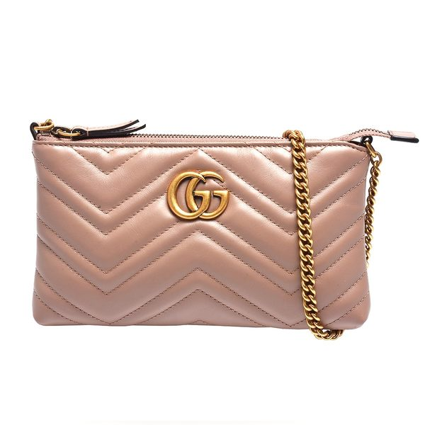 【台中米蘭站】全新品 GUCCI  GG Marmont 雙G logo山形紋斜背包(443447-粉)
