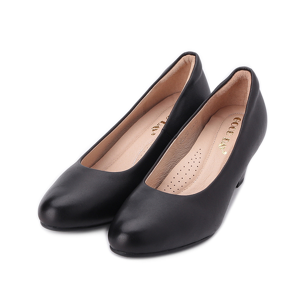 GOOD-DAY 羊皮素面中跟鞋 黑 女鞋