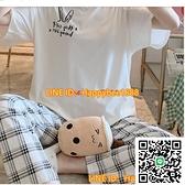 女生睡衣女夏季可愛格子夏天純棉春夏短袖長褲兩件套春秋季【happybee】