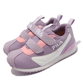 Fila 童鞋 J851V 中童鞋 女童 紫 白 粉 氣墊 魔鬼氈 7-14歲 小學 運動鞋【ACS】 7J851V911