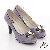 A.S.O 玩美彈麗II 全真皮壓紋金屬蝴蝶魚口跟鞋-紫