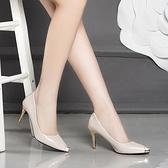 新款春季百搭裸色高跟鞋女尖頭細跟淺口性感少女網紅漆皮單鞋 雙12全館免運
