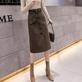 加厚毛呢半身裙女2021年秋冬季新款中長款氣質半裙a字裙包臀裙子 8號店