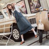 《DA5937-》懷舊水洗感高含棉牛仔吊帶長裙 OB嚴選